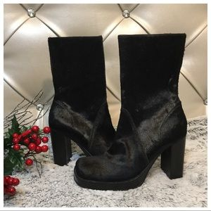 MIA Black Horse Hair Boots Sz 7.5M